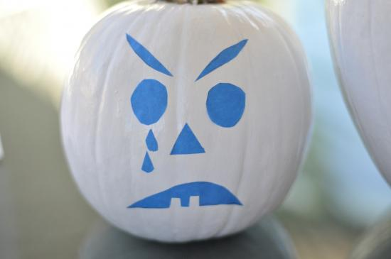 Template with Tape for Easy Halloween DIY No Carve Glow In The Dark Pumpkins