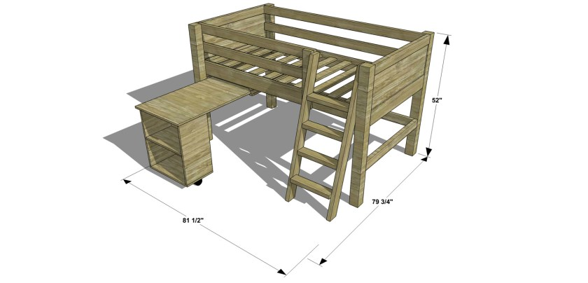 Dimensions for The Design Confidential Free DIY Furniture Plans // How to Build a Twin Sized Low Loft Bunk with Roll Out Desk + Bookshelf