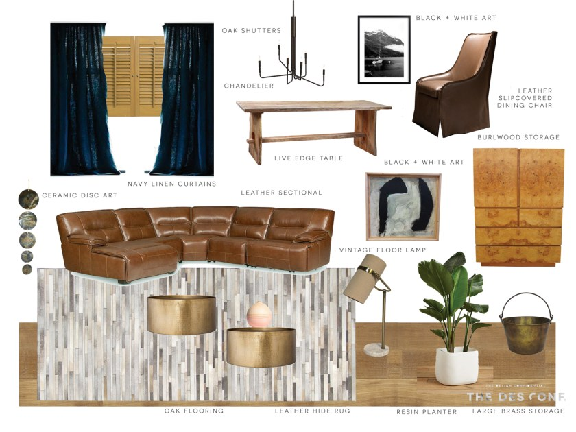 The Design Confidential Family Room Redesign Mood Board + Design Plan