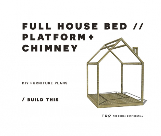 You Can Build This! The Design Confidential DIY Furniture Plans // How to Build a Full House Bed with Platform + Chimney