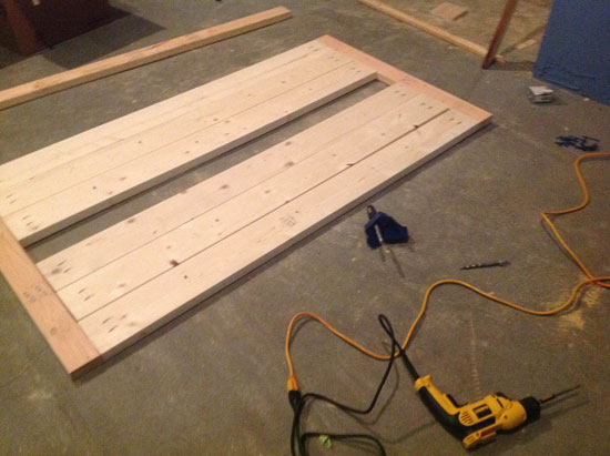 Building the Table Top for Free DIY Furniture Plans from The Design Confidential: Rustic Outdoor Table // Builders Showcase // An Outdoor Party Table with Built In Drink Cooler
