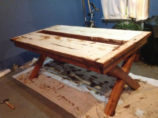 Finishing the Top for Free DIY Furniture Plans from The Design Confidential: Rustic Outdoor Table // Builders Showcase // An Outdoor Party Table with Built In Drink Cooler