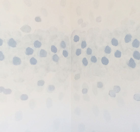 Add Light Indigo Circles for DIY Faux Watercolor Wallpaper Wall Treatment with Paint