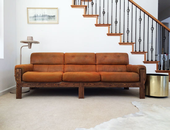 The Design Confidential Vintage Vulture // My New Old Sofa + DIY Reupholstery Or Leather Restoration
