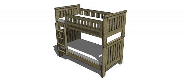 Best Free Woodworking Plans to Build an RH Inspired Kenwood Twin Over Twin Bunk