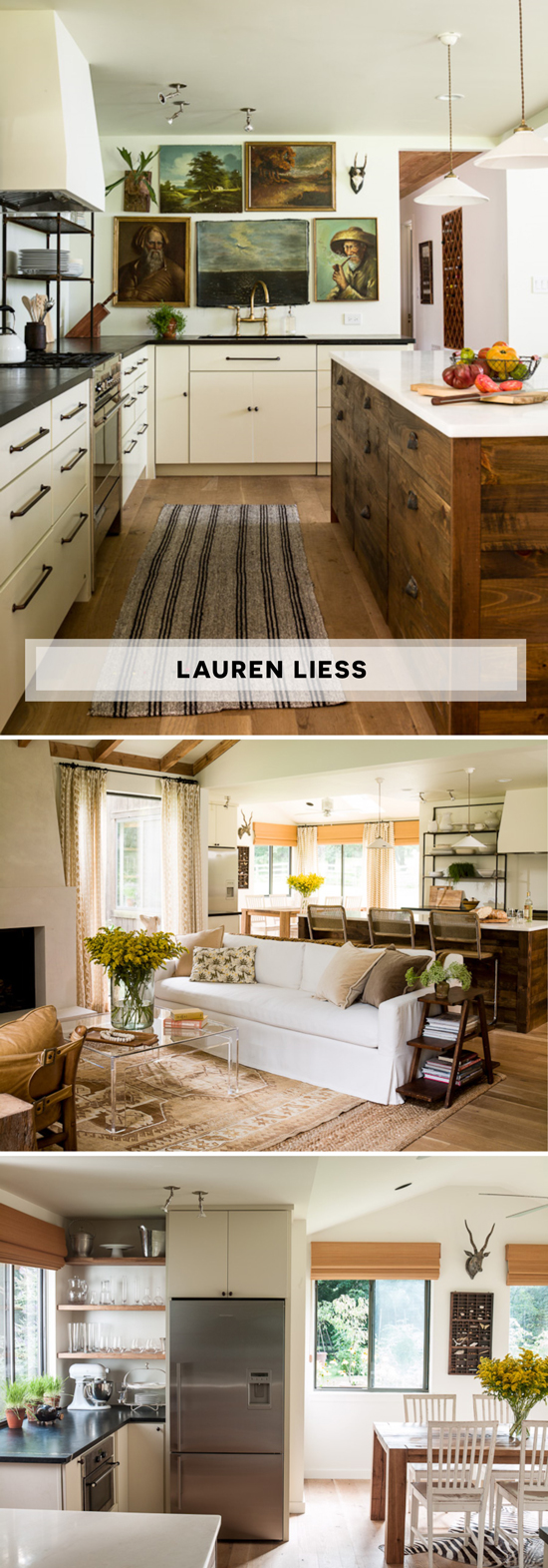 Lauren Liess of Pure Style Homes Kitchen Featured on The Design Confidential Black Open Shelving Landscape Paintings Reclaimed Wood