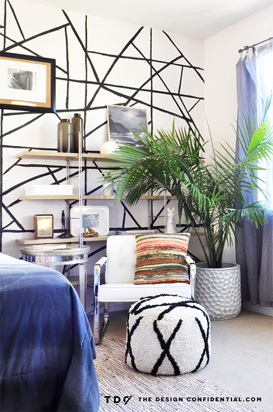 Chair and Pouf in My Bold and Beachy Master Bedroom Makeover