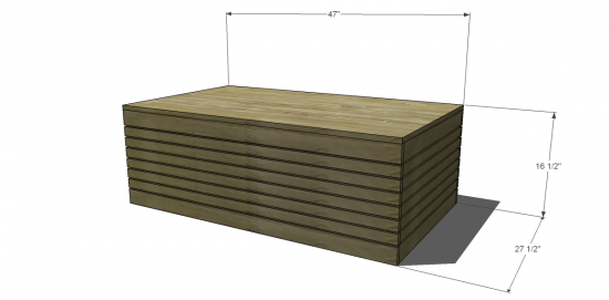 Dimensions for Free DIY Outdoor Furniture Coffee Table Project and Kreg Jig Plan