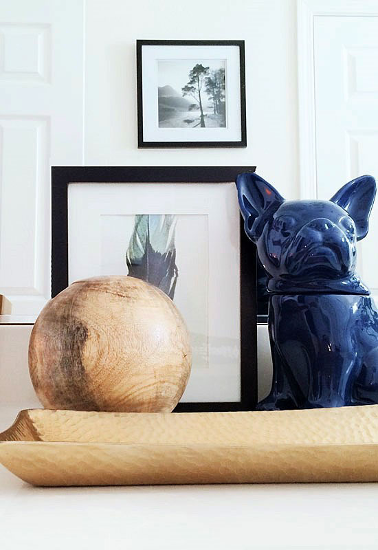 Blue Ceramic French Bulldog Cookie Jar Wooden Sphere Hammered Brass Tray Framed Landscape Photography Feather for The Design Confidential New Year New Beginnings // A Shared Bath for the Boys
