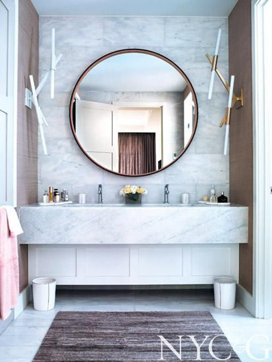 The Design Confidential Bathe Well Rounded Mirrors in the Bath Marble Vintage Floating Vanity Sconces Round Mirror
