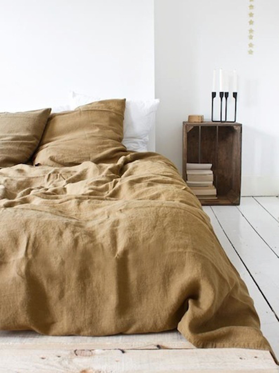 Natural Woolen Bedding White Floors and Minimal Bedroom Space for The Design Confidential Currently Crushing The Unmade Bed