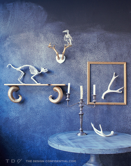 DIY Ram's Horn Shelf and Skeleton Taxidermy Display // Easy Halloween Decor Project