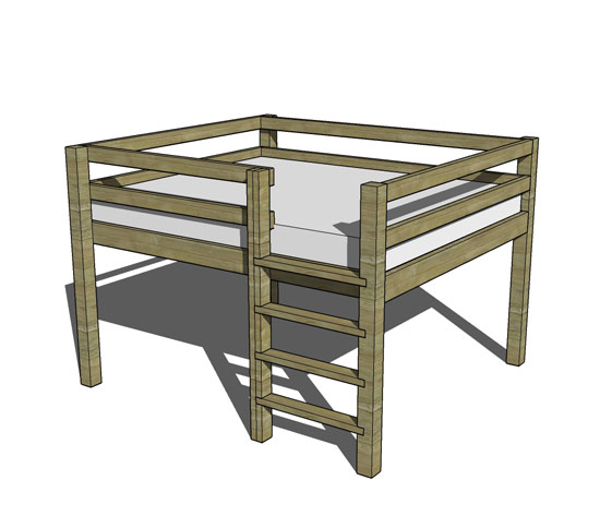 Free DIY Furniture Plans // How to Build a Queen Sized Low Loft Bunk ...