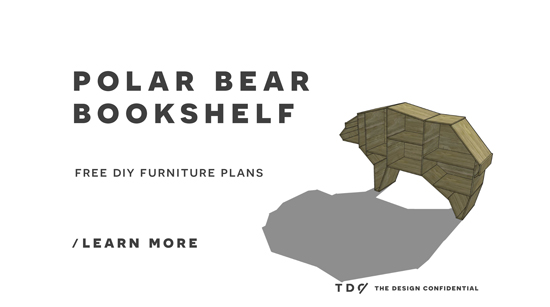 The Design Confidential Free DIY Furniture Plans // How to Build a Polar Bear Bookshelf
