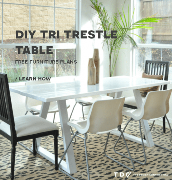 Free DIY Furniture Plans // How to Build a Tri Trestle Table