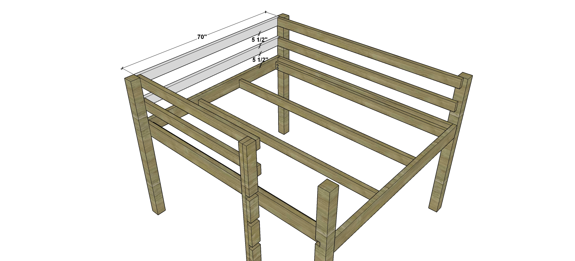 Free Diy Furniture Plans How To Build A Queen Sized Low Loft Bunk
