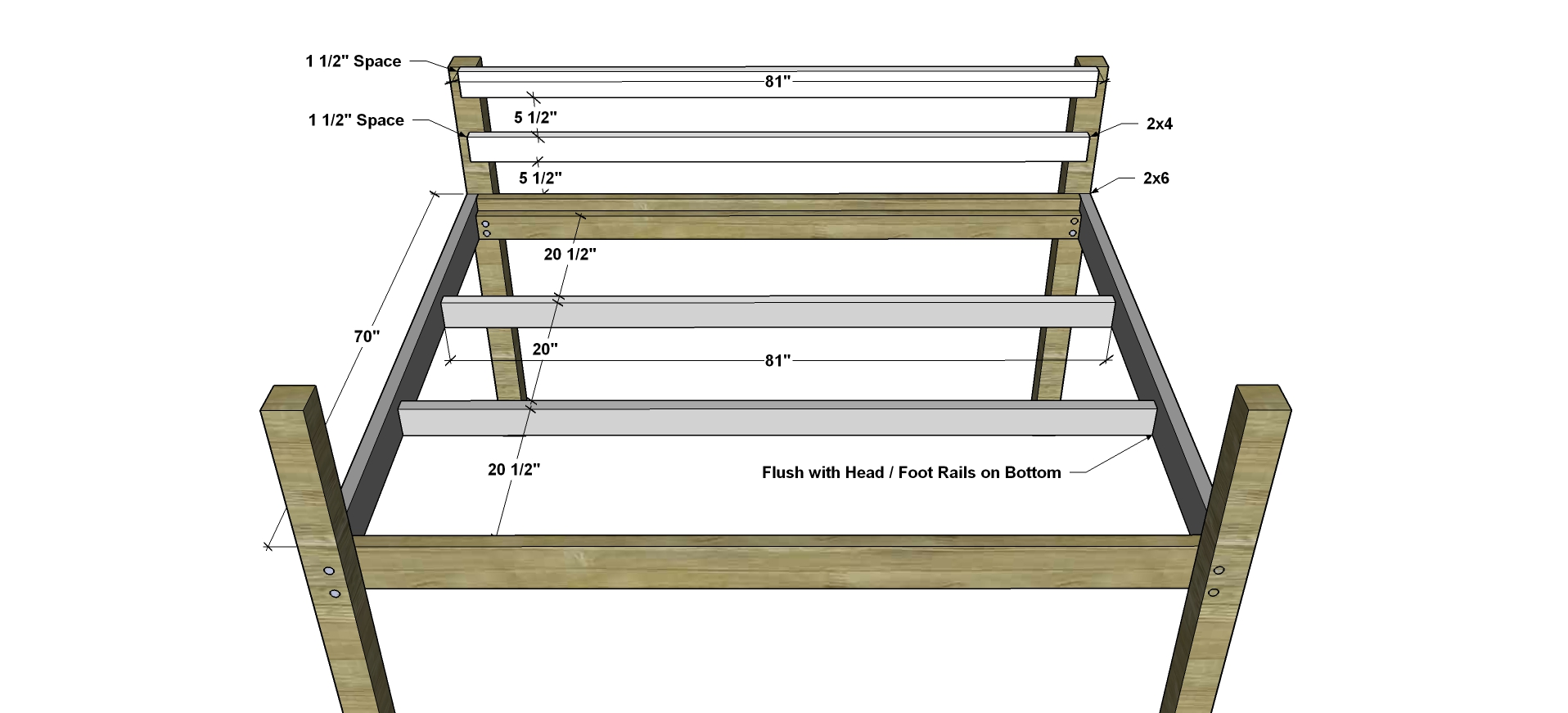Free DIY Furniture Plans // How to Build a Queen Sized Low