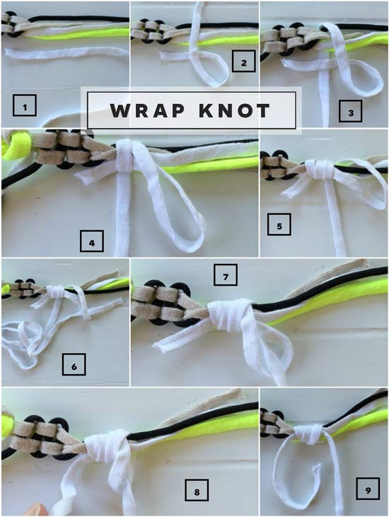 The Design Confidential How to Tie a Wrap Knot or Gathering Knot for Macrame Pattern Project