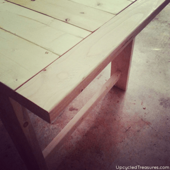 Completed Build Before Finish for The Design Confidential Reader Showcase // Upcycled Treasure's West Elm Inspired Truss Dining Table