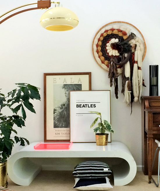 The Design Confidential in Partnership with Great.ly and Styling // Gorgeous Great.ly Gathered Goods with Vintage Fiber Art Lamps Table Art Plants