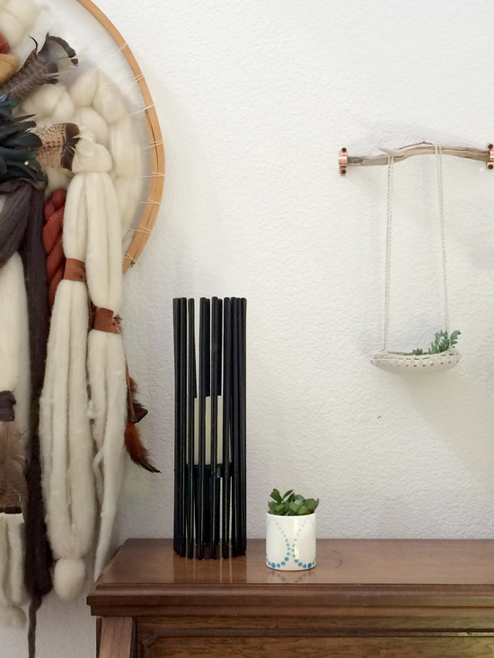 Fiber Art Modern Candle Holder Ceramic Cup and Ceramic Planter for The Design Confidential in Partnership with Great.ly and Styling // Gorgeous Great.ly Gathered Goods with Vintage Fiber Art Hanging Ceramic Crochet Planter Ceramic Cup Candle and Plants
