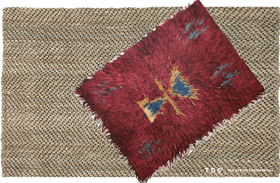 Layered Jute Herringbone Rug with Vintage Turkish Tulu Rug
