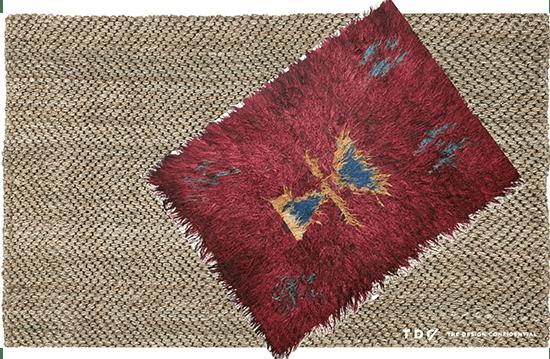 Layered Jute Herringbone Rug with Vintage Turkish Tulu Rug