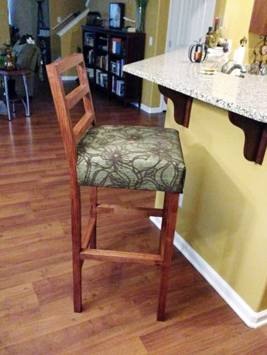 Reader Showcase: Ecarps Finished Louis No Sew Custom Bar Stool