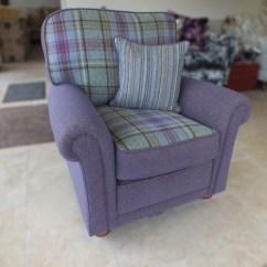 Sofa Upholsterers Leicester Leather Sleeper Austin Sienna Chair In Prestigious Fabric Modern Tartan Chairs
