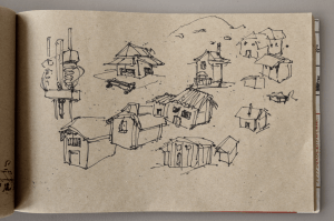 sketchbook drawing in a train houses