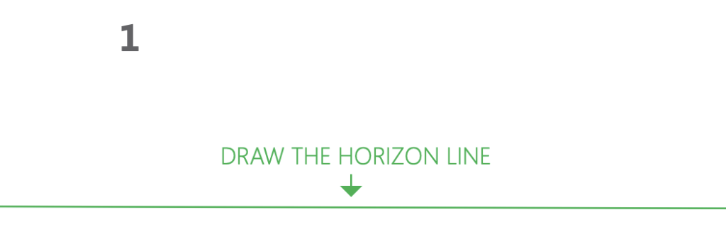 how to draw a cube 2-point perspective - Step 1 draw the horizon line