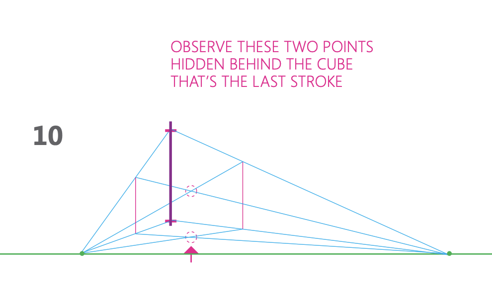 how to draw a cube 2-point perspective - Step 10 hidden points