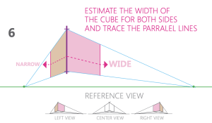 how to draw a cube 2-point perspective - Step 6 box width