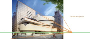 Guggenheim-museum-New-York-City with perspective lines drawing