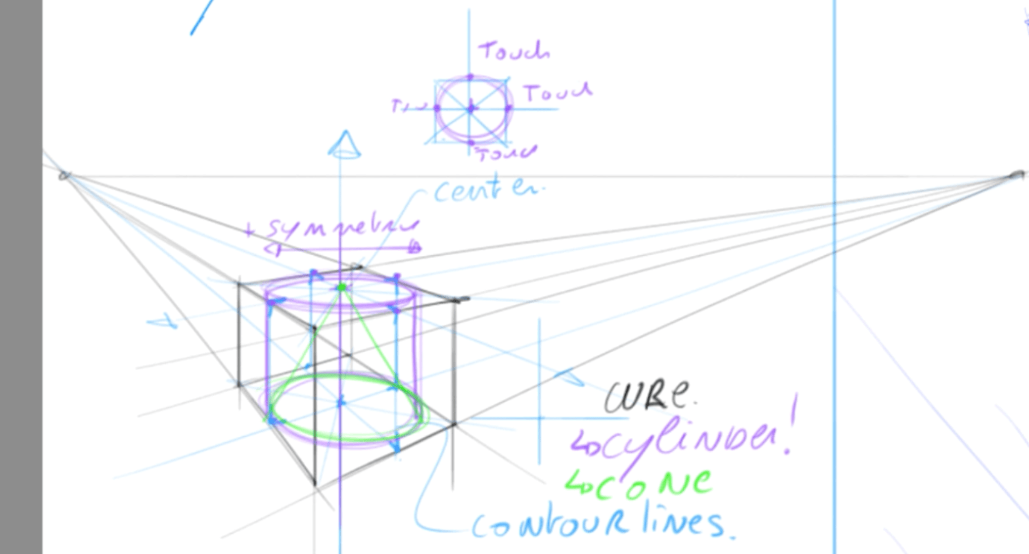 How to draw basic 3d volumes - cone - cube - cylinder - the design sketchbook - t