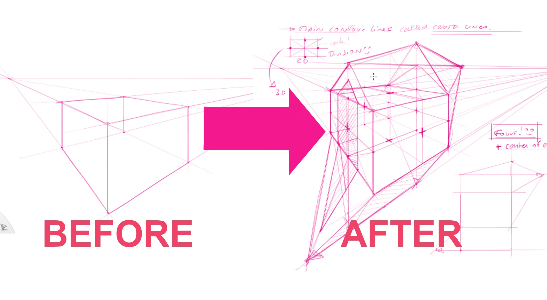 How to level up your design sketches in 3D ? With 2-point perspective | TIP 201