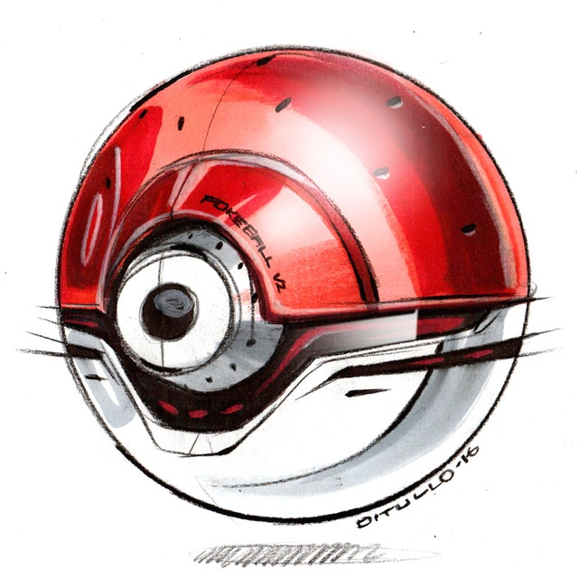 Michael DiTullo Design Sketching Sketchbook MD PokeBall
