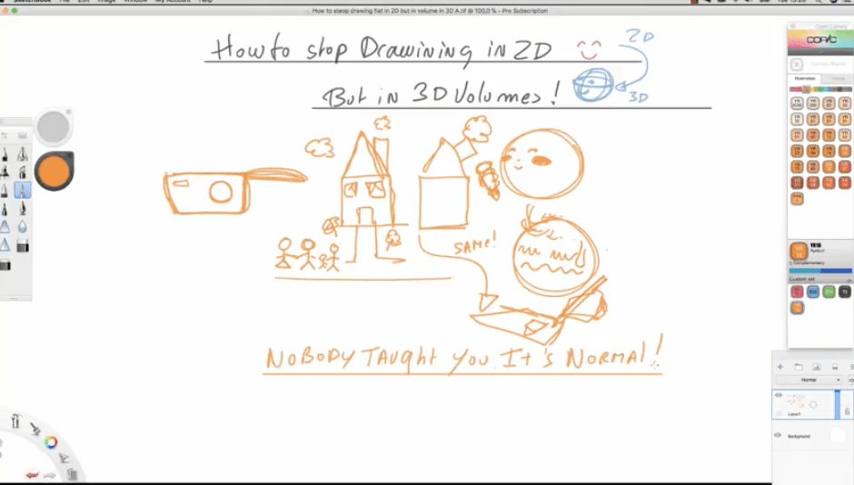 How to stop sketching flat in 2D and start drawing in 3d volumes