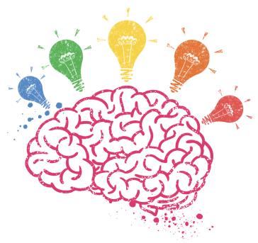 brain lamp colourful
