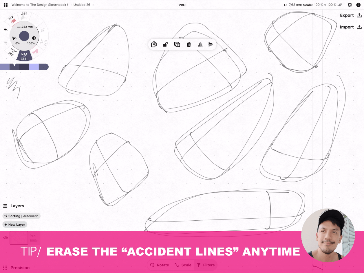 How to draw Creative random doodles of bags - Product design sketching - The Design Sketchbook Free video tutorial guide a11 Erase the accident lines