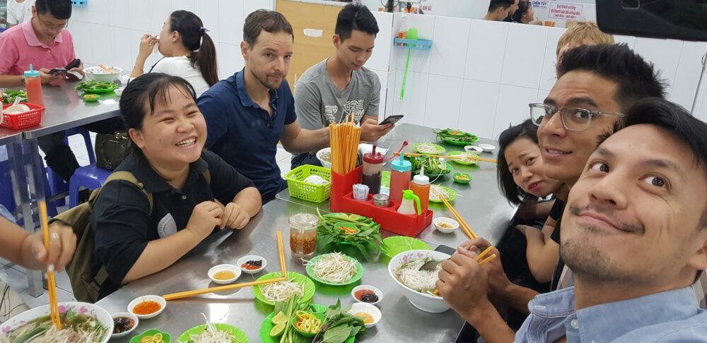 lunch eating Pho Chou-Tac Chung Nicolas Thanh