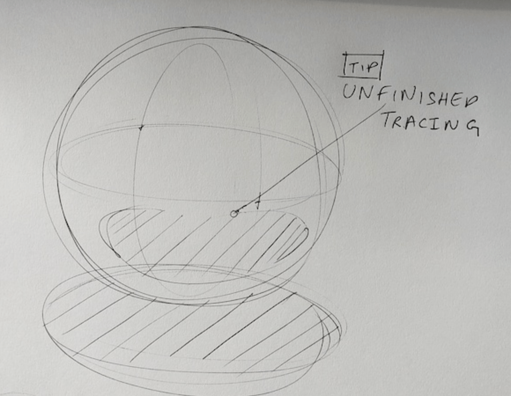Sphere drawing with cast shadow - Unfinished tracing