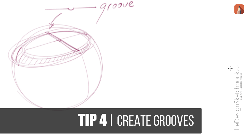 draw some grooves in product design sketching