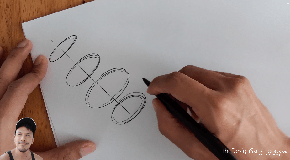Step 2: Draw ellipses with different sizes all along the axis.