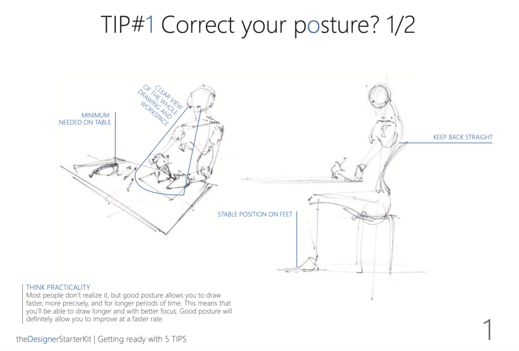 Correct your posture to draw