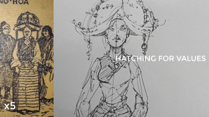 how to draw a body - character design sketching - hatching for values