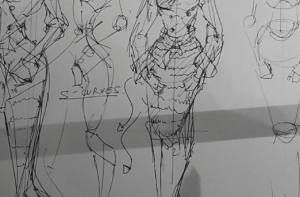 how to draw a body - character design sketching - sketching s-curves