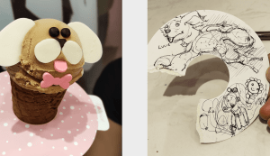 Puppy ice cream and drawing lizard