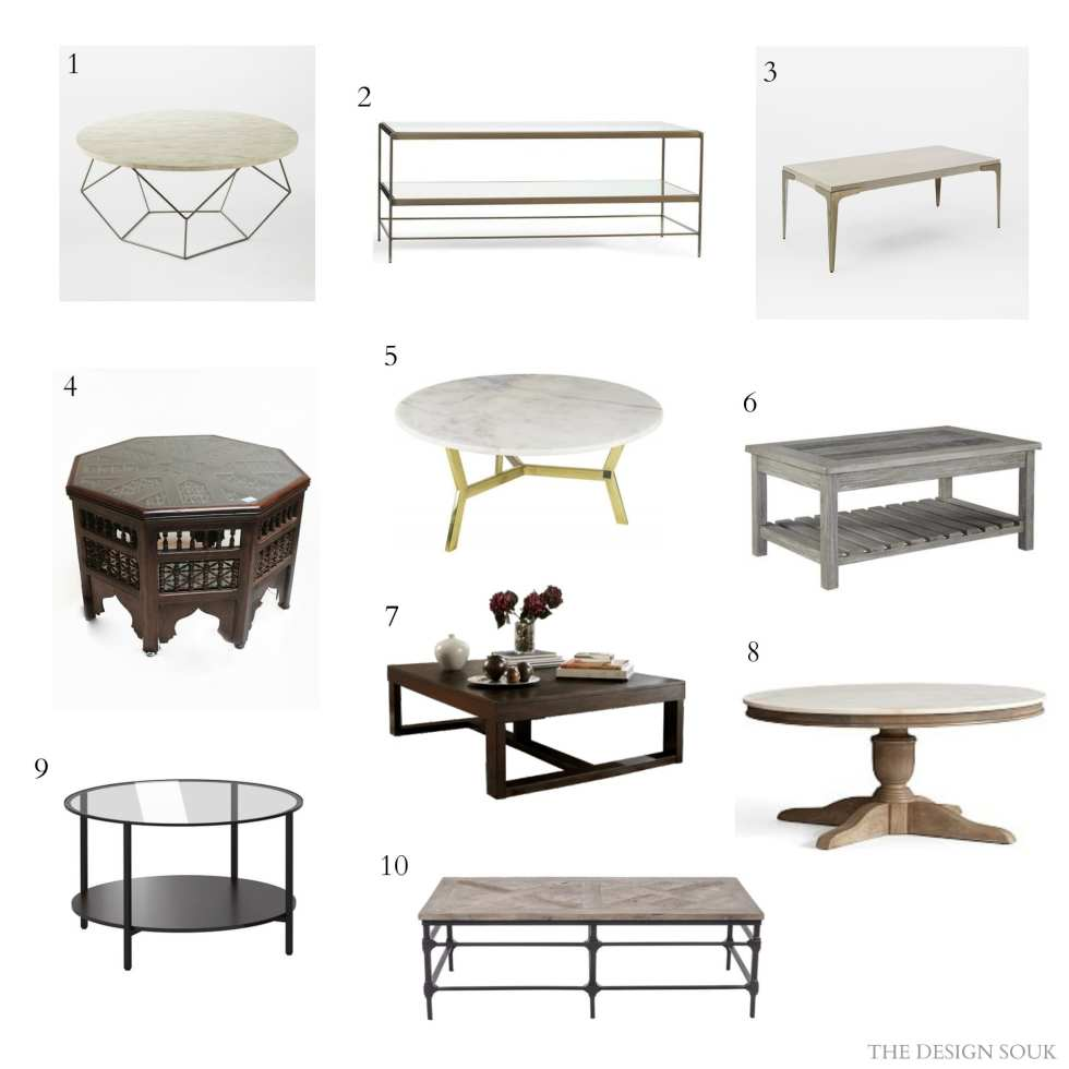 10 Fabulous Coffee Tables | THE DESIGN SOUK | www.thedesignsouk.com | 1. Origami Oversized Table, West Elm (SR 2,250) | 2. Leona Coffee Table, Pottery Barn (BD 210) | 3. Brass + Concrete Coffee Table, West Elm (SR 2,275) | 4. Octagon Coffee Table Latticework Design, Desert Designs ($531 or SR 1991) | 5. BRUGE, Marina Home, (SR 2630 ON SALE) | 6. T748-1, Ashley Furniture (SR 1045) | 7. T481-1, Ashley Furniture (SR 995) | 8. Alexandra Coffee Table, Pottery Barn, (BD 295) |9. VITTSJÖ, IKEA (SR 149) | 10. MARTE coffee table 137×66 natural, The ONE, (SR 2995)