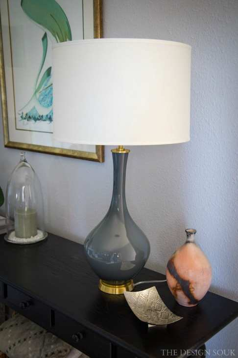 My very expensive but gray ombré Pottery Barn lamp that was worth EVERY riyal!